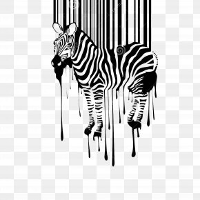 Abstract Art Horse - Barcode Wall Decal Sticker Illustration PNG