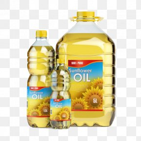 Three Bottles Of Sunflower Oil - Sunflower Oil Vegetable Oil Cooking Oil Bottle PNG