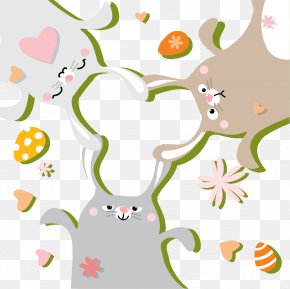Vector Hand-painted Easter Bunny - Easter Bunny Easter Egg Rabbit PNG