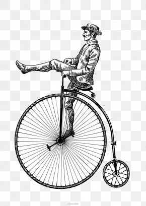 Black And White Sketch Gentleman Bike - Black And White Bicycle Pedal Drawing PNG