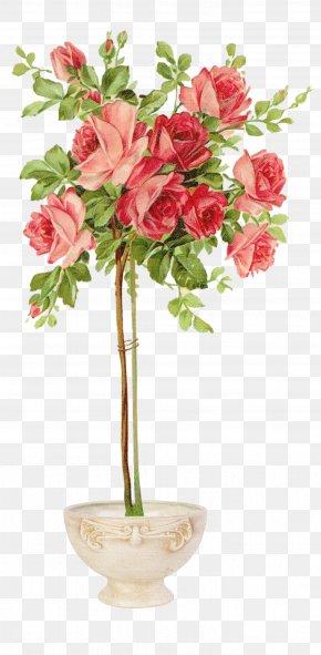 Flower Pot - Vintage Clothing Rose Shabby Chic Easter Postcard PNG