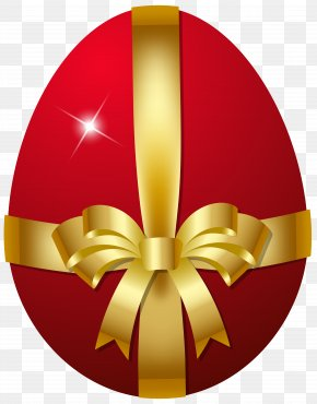 Red Easter Egg With Bow Clip Art Image - Easter Bunny Red Easter Egg Clip Art PNG