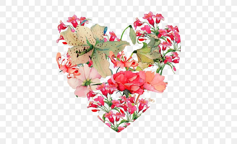 Flower Heart Valentine's Day, PNG, 500x500px, Flower, Artificial Flower, Carnation, Cut Flowers, Floral Design Download Free
