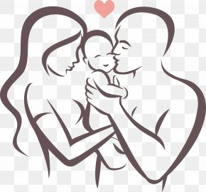 Vector Line Drawing Happy Family - Father Symbol Stock Illustration PNG