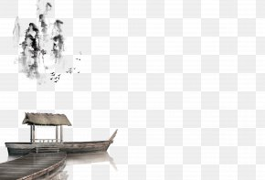 Chinese Wind Boat Decoration Pattern - Ink Wash Painting Shan Shui White PNG