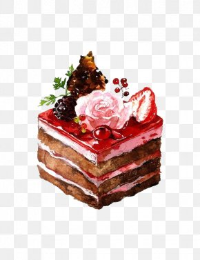 Hand-painted Dessert Cake - Dessert Watercolor Painting Drawing Illustration PNG