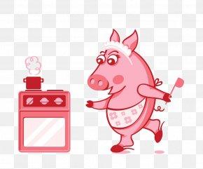 Cartoon Pig Material - Domestic Pig Cooking Chef Clip Art PNG