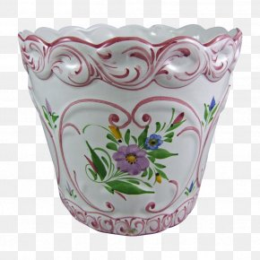 Hand-painted Flower Pot - Flowerpot Porcelain Purple PNG
