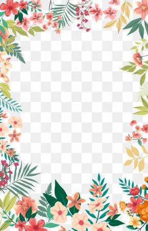 Small Fresh Flowers Hand Painted Frame PNG