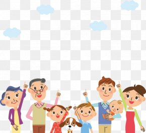 Pointing To The Sky Cartoon Character Family - Family Cartoon Illustration PNG