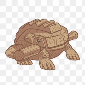 Hand-painted Wood Animals - Wood Tortoise PNG