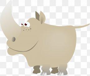 Vector Cartoon Rhino - Rhinoceros 3D Sticker Clip Art PNG