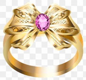 Gold Ring With Pink Diamond And Bow Clipart - Earring Jewellery Diamond Gold PNG