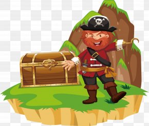 Looking For The Treasure Of The Pirate Captain - Piracy Illustration PNG