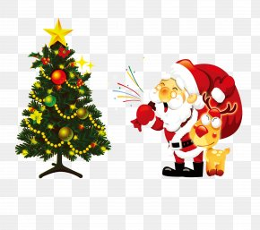 Santa Claus And Christmas Tree - Santa Claus Christmas Tree Illustration PNG