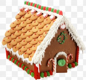 Large Transparent Gingerbread House Picture - Gingerbread House Candy Cane Clip Art PNG