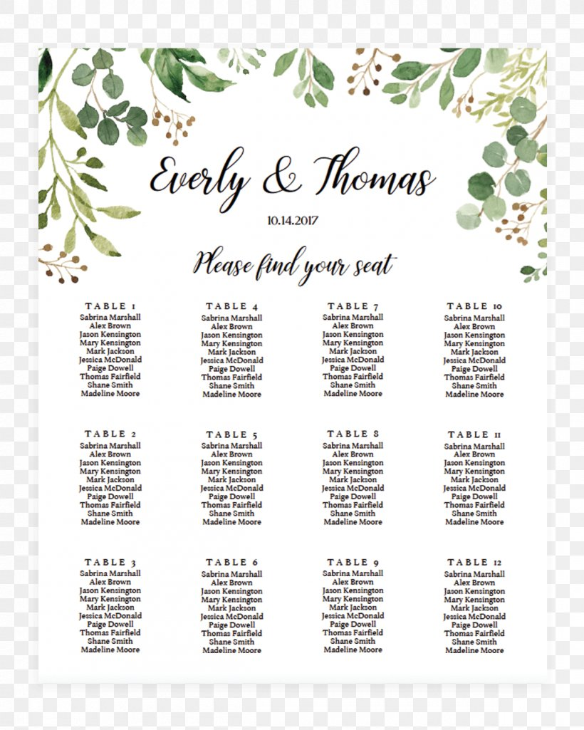 Wedding Invitation Seating Plan Template Table Microsoft