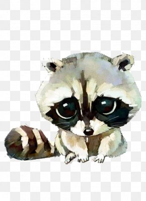 Hand-painted Cartoon Raccoon - Raccoon Cat Dog Watercolor Painting Drawing PNG