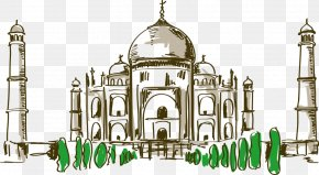Hand-painted Cartoon Taj Mahal - Taj Mahal Drawing Cartoon PNG