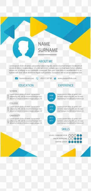 Color Triangle Border Resume - Rxe9sumxe9 Curriculum Vitae Template Cover Letter PNG