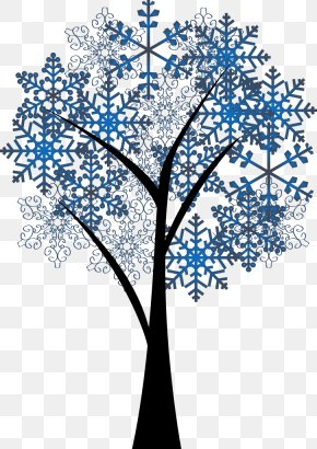 Long Snowflake Tree Design Vector Material - Twig Tree Snowflake PNG