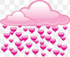 Cartoon Love Under Rain Clouds - Rain Cloud Heart Clip Art PNG