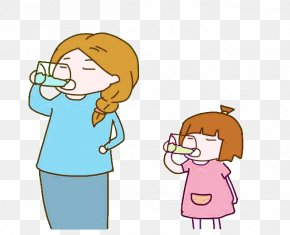 Mother And Baby Drink Water Picture Material - Drinking Mother Child PNG