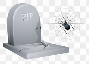 Halloween RIP Tombstone With Spider And Web Clipart - Headstone Halloween Clip Art PNG