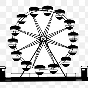Black Silhouette Fresh Ferris Wheel Vector Material - Car Ferris Wheel Wagon Clip Art PNG