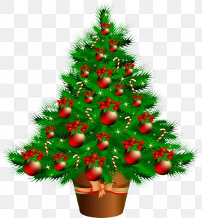 Green Christmas Tree - Santa Claus Candy Cane Christmas Tree Gift PNG