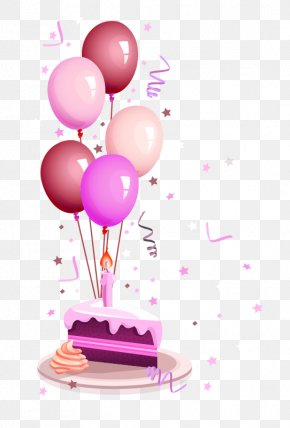Purple Balloon Decoration - Birthday Cake Happy Birthday To You Greeting Card Wish PNG