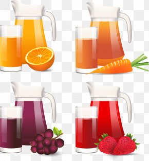 Summer Fruit Time Juice - Orange Juice Strawberry Juice Grape Juice PNG