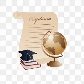 Globe And Dr. Cap - Graduation Ceremony Square Academic Cap Diploma Clip Art PNG