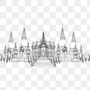 Hand-painted Buildings In Europe And America - Thailand Architecture Architectural Style Drawing PNG
