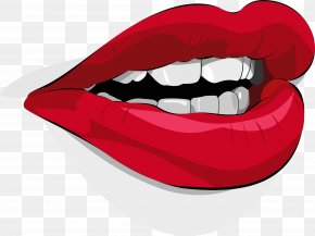 Red Lips And White Teeth - Mouth Lip Clip Art PNG