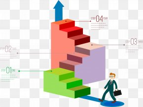 On The Stairs Of Business Villain - Infographic Graphic Design 3D Computer Graphics Chart PNG