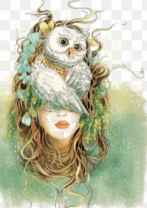 Owls Head Headdress Woman Creative Illustration - Owl Visual Arts Drawing Illustration PNG