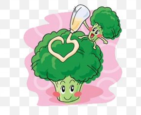 Two Broccoli - Q-version Fruit Broccoli Illustration PNG
