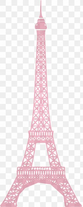 Pink Eiffel Tower Silhouette Vector - Eiffel Tower Monument Wall Decal PNG