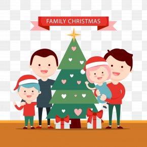 Vector Illustration Family Christmas - Christmas Gift Family Illustration PNG