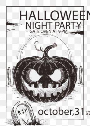 Hand-painted Pumpkin Vector Material Ink - Halloween Party Flyer Pumpkin PNG