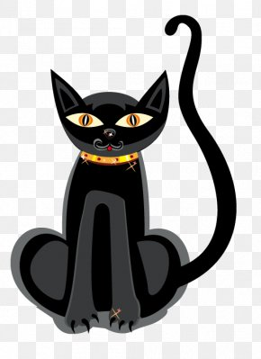 Evil Black Cat - Black Cat Kitten Halloween Clip Art PNG