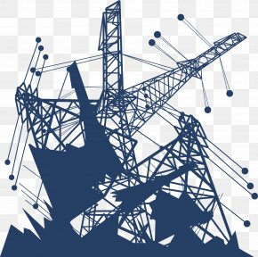 Blue High Voltage Line Vector - Electricity Infrastructure Euclidean Vector PNG
