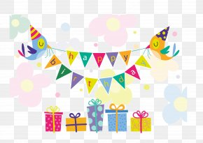 Happy Birthday Elements - Birthday Cake Gift Greeting Card PNG