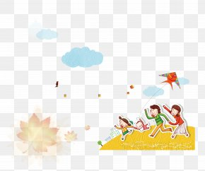 Kite Flying Child - Kite Pattern PNG