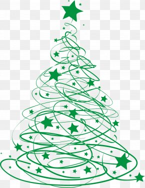 Green Christmas Tree Star Line - T-shirt Christmas Tree Santa Claus PNG