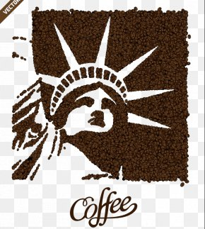 Statue Of Liberty Coffee Beans Background Material Buckle Free - Statue Of Liberty Coffee Tea Cafe Poster PNG