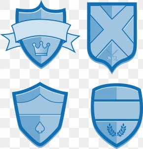 Hand-painted Blue Shield Vector Label - Escutcheon Shield Euclidean Vector PNG