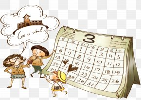 Cartoon Calendar - Cartoon Painting Illustration PNG