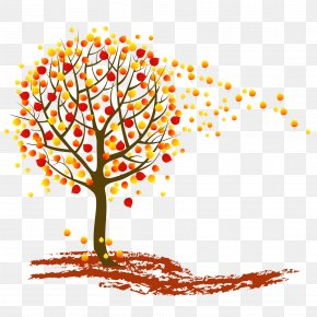 Vector Autumn Leaves Falling - Tree Autumn Clip Art PNG